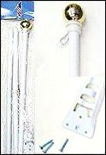 6' White Steel Flag Pole /Gold Ball With Wall Mount (1)