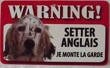 """CHIEN Plaque, Pancarte, """" JE MONTE LA GARDE """" SETTER ANGLAIS"""