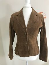 COLDWATER CREEK Small Tan 100% Leather Suede Jacket Small