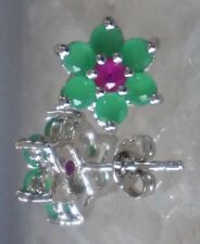New Natural EMERALD & RUBY FLOWER 1.36cttw Sterling Silver Stud Earrings