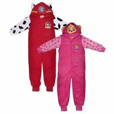 PAW Patrol All In One Pyjamas Kids Hooded Fleece Pjs Marshall Skye Girls Boys