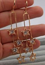 18K Yellow Gold Filled- 3.2'' Tassels Hollow Star Topaz Zircon Cocktail Earrings