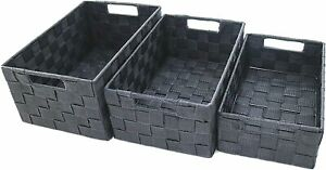 Set of 3 Storage Baskets, Large Storage Organisers for Bedrooms and Bathrooms