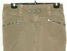 "Womens Diesel beige pants tagged 28""= 31x35 actual zipper pockets, band snaps XC"