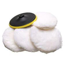 5Pcs Polisher/Buffer kit Soft Wool Bonnet Pad White:4 inch W3X8
