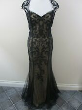 Pearce Fionda dress size 16 black lace overlay fishtail hem brocade RRP £120