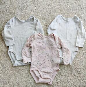 3x H&M Baby Girl Long Sleeve Bodysuit /babygrows  6-9 M 74cm VeryGoodCondition