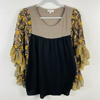Umgee Size Small Black Waffle Knit Top With Floral Flutter Sleeve Boho Trendy
