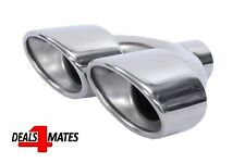 Twin Dual Exhaust Trim Tip Double Muffler Pipe Chrome Tail 50mm Universal