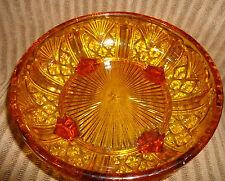 Davidson Amber Depression Glass 4 footed Bowl