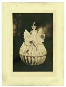 1920's LITTLE BALLERINA GIRL SEATED on PROP ORB Orig ART DECO STUDIO PHOTO 7x9