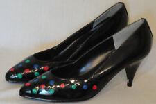 Vintage Black Vinyl High Heel Shoes 7 1/2 B Polka Dots aj. Valenci