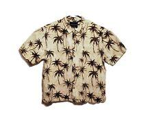 North River Mens Sz XL Short Sleeve Shirt Tan Palm Tree Hawaiian wood Button up