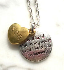 SON In HEAVEN Necklace Hold You In My Heart Two Tone Charms In Memory