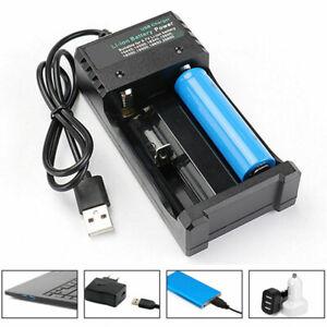 Universal USB Dual Slot Battery Charger For 3.7V 18650 16340 14500 26650 Li-ion