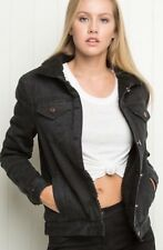 Brandy Melville vintage-inspired black faux fur denim Annalee jacket