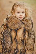 Raccoon Girls Fur Coat Baby Coats Kids Winter Jacket Boys Fur Jacket (Natural)