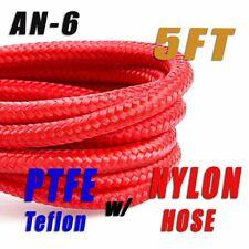 "-6 AN AN6 5/16"" Braided Red Nylon PTFE E85 Ethanol Fuel Line Hose (5FT)+"
