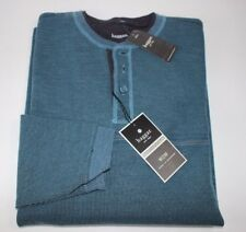 NWT HAGGAR Size Med Men's L/S Blue Water Heather 3 Button Double Crewneck Shirt