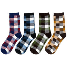 4 Pairs Men's Cotton Crew Socks Lot Casual Dress Checks Plaids Colorful Sox 7-11