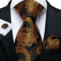 Black Gold Silk Tie Set Novelty Mens Necktie Pocket Square Cufflinks Wedding