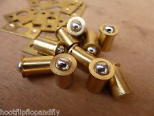 "10 x  1/2"" 12mm  BRASS BALL BALL DOOR CATCH BULLET TYPE FRICTION SPRUNG CATCHES"