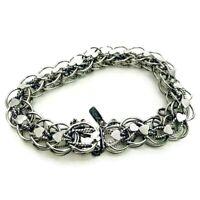 Monet Vintage Silver Tone Bracelet Double Chain Link Clasp Heart Safety Jingle