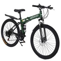 "Mountain Bike 26"" Bicycle Full Suspension Shimano 21 Speed Mens Bikes MTB Green"