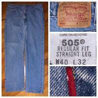Vtg Levi's 505 Blue Regular Fit Straight Leg Men's Red Tab Jeans Size 38 X 32