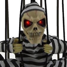 Hanging Skeleton Caged Jail Prisoner Halloween Decoration Light Up Skull Motion