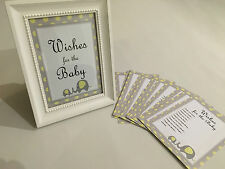 10 X Printed - Yellow Elephant Wishes for Baby Card Baby Shower Tlc32