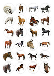 24 edible Horses Riding Iced Icing Fondant 4cm Cupcake Toppers Cake
