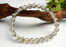 Top Quality Natural Silver Rutilated Quartz Crystal Round Bead Bracelet 7mm AAAA