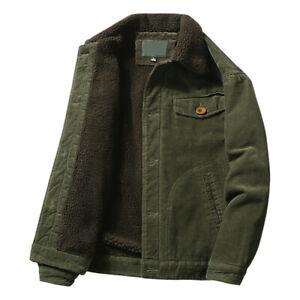 Mens Corduroy Fur Fleece Lined Casual Winter Warm Coat Trucker Jacket Outwear