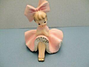 Vintage Inarco Big Bow Bloomer Girl Figurine Pink Dress 1963