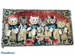 Vintage Red Velvet Kittens Tapestry Kitten Wall Hanging Cat Rug