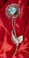 Vintage HUGE FilIgree Rhinestone Flower Pin CAT RESCUE