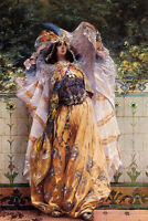 Huge Oil painting Georges Jules Victor Clairin - An Ouled-Nail Tribal Dancer