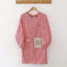 Cotton Linen Apron Stripe LongSleeve Workwear Cooking Baking Kitchen Chef Pocket