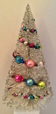 "VINTAGE BOTTLE BRUSH CHRISTMAS TREE WHITE SILVER LARGE MERCURY GLASS GARLAND 13"""