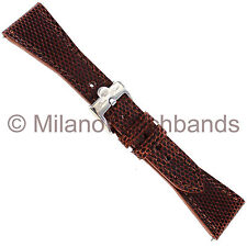 22mm Glam Rock High Quality Hand Made Brown Genuine Lizard Stitched Watch Band