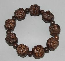 ANCIENT CHINESE SANDALWOOD CARVED SCALABLE WOOD BRACELET