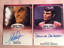 New Listing Star Trek Deep Space 9 Autograph Cards Lot of 2 Includes: Barbeau & Jg Hertzler