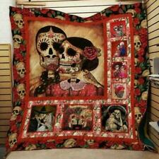 Skeleton Quilt/Mint/Sherpad/Fleece Blankets Gift/Christmas/Birthday Present