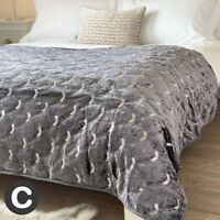 Luxury Crushed Velvet Art Deco Dark Charcoal Grey Sparkle Bedspread Sofa Throw