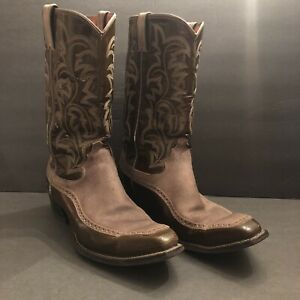 Vintage Justin Cowboy Boots 1976  Size 12 Pearl Patent Leather & Suede