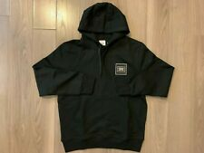 Burberry Logo Applique Cotton Hoodie black sz M