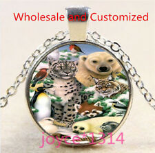 Leopard, penguin, raccoon Cabochon silver Glass Chain Pendant Necklace #5139