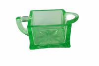 Vintage Creamer Vaseline Green Depression Glass Square , Handle