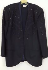 Vintage NOLAN MILLER Sleeveless Blouse with Navy Jacket Floral Embroidery Plus
